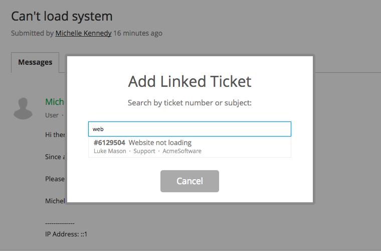 Link ticket modal