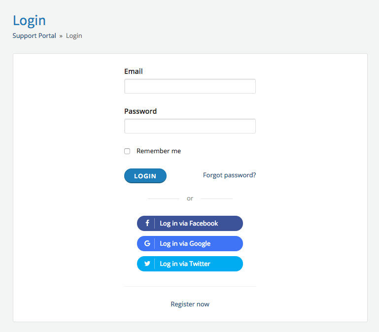 Social login options
