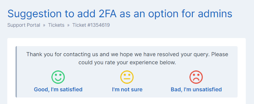 Ticket Feedback