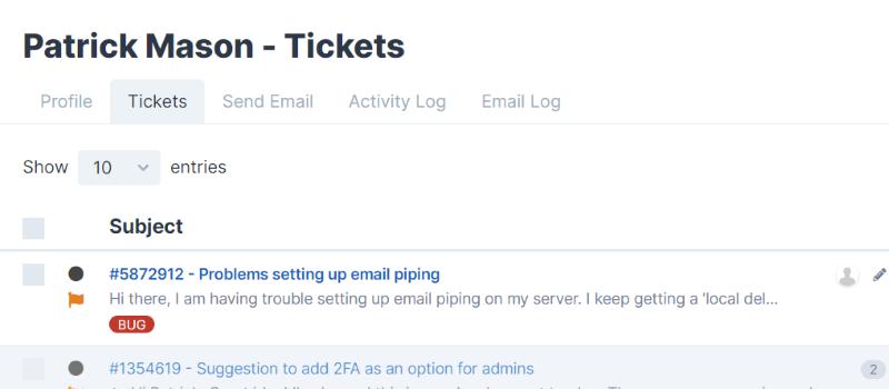 User Tickets